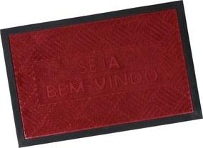 Tapete Porta Emborrachado Antiderrapante 40cm x 60cm Bem-Vindo - Vermelho