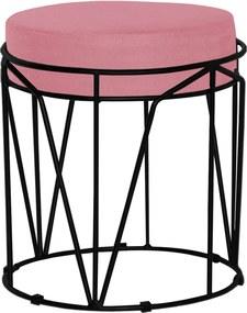 Puff Decorativo Sala de Estar Base Preto Chloe Suede Rosa - Gran Belo