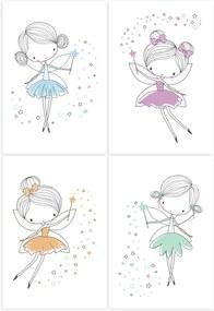 Placas Decorativas para Quarto de Menina Fadas 20x30 Kit 4un
