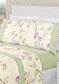 Jogo de Lençol Bia Enxovais Casal Estampado 4 peças Naturalle - Verde Floral