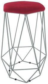 Puff Banqueta Aramado Eiffel Hexágono Prata Assento Vermelho