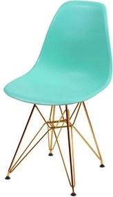 Cadeira Eames Polipropileno Verde Tiffany Base Cobre - 45973 Sun House