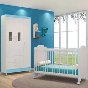 Quarto de Bebê Guarda Roupa Vitória e Berço Ternura Branco/Azul - PN Baby