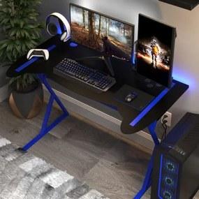 Mesa Gamer em Metal com Pés Neon | Tam: 116x65cm | Cor: Preto com Azul| Mod: Controller