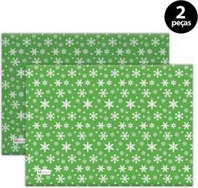 Jogo Americano Mdecore Natal Flocos de Neve 40x28 cm Verde2pçs