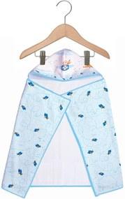 Toalha de Banho Papi Capuz Forrada Aventura Azul