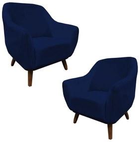 Kit 2 Poltronas Decorativas Jessica Pés de Madeira Suede Azul Marinho - Sheep Estofados - Azul escuro