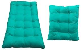 Kit Almofadas para Poltrona e Puff Costela Corano Azul Turquesa - ADJ Decor