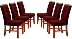 Kit 6 Cadeiras de Jantar Estofada Bordô em Veludo Hatlar