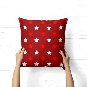 Capa de Almofada Avulsa Decorativa Estrelas Natalinas Vermelhas 35x35cm