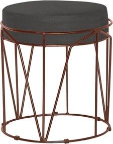 Puff Decorativo Sala de Estar Base Bronze Chloe Suede Cinza - Gran Belo