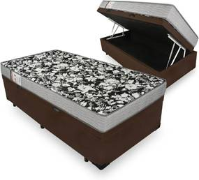 Cama Box Com Baú Solteiro + Colchão De Espuma D26 - Ortobom - Physical Ultra Resistente 78cm Marrom