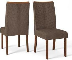 Conjunto 2 Cadeiras Lucila Rústico Malbec Tecido Pena Marrom