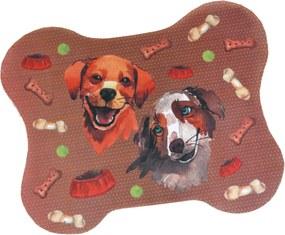 Tapete Pet Comedouro e Bebedouro Cachorro Ossinho 40cm x 50cm - Marrom