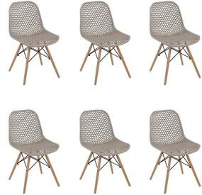 Kit 6 Cadeiras Decorativas Sala e Cozinha Haney (PP) Nude - Gran Belo
