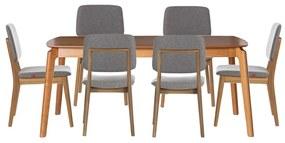 Conjunto Mesa Lala Retangular 180X100 com 6 Cadeiras Dadi Cinza