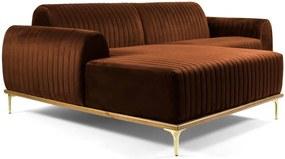 Sofá 3 Lugares com Chaise Base de Madeira Euro 230 cm Veludo Telha - Gran Belo