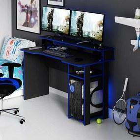 Mesa Gamer Escrivaninha Tecno nicho Preto Azul