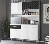 Kit Cozinha 4 Portas Yara 140 CM Branco Preto 3D Nicioli