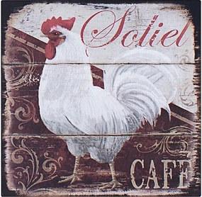 Placa de Metal Galo Branco Soliet Café