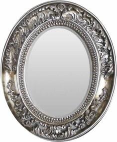 Espelho Moldura em Resina Prata Detalhes em Relevo