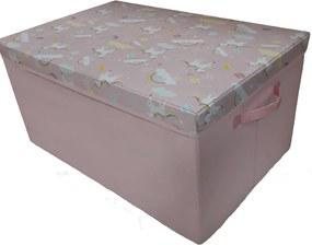 caixa bau montessoriana infantil rosa
