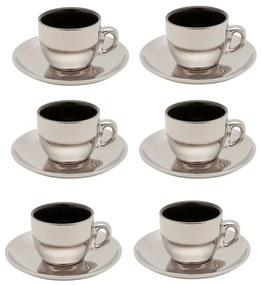 Jogo Xícaras Café Porcelana 6 Peças Com Pires Preto E Prata Versa 90ml 35528 Wolff