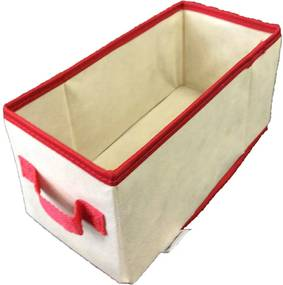 Caixa Organizadora com alça 14x15x28cm Organibox bege/vermelho