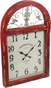 Relógio Janela London Retrô Vermelho c/ Efeito Shabby Chic em Madeira