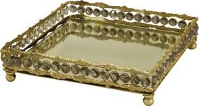 Bandeja em Metal Dourado Com Pingentes 7x26