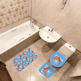 Jogo de Banheiro Floral AzulÚnico