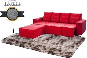 Sofá Retrátil Portinari 2,60 Mts Assentos Retráteis Tecido Suede Vermelho + Puff + Tapete Taj Mahal 3m x 2m - Cor Marrom Escuro