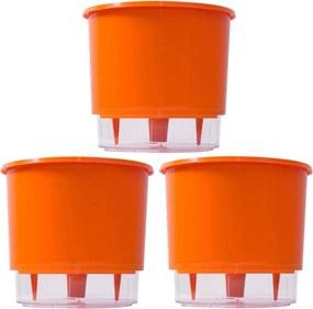 Jogo 3 Vasos Raiz Auto Irrigável Laranja 16x14 Autoirrigável