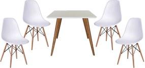 Conjunto Mesa Square Quadrada 90cm + 4 Cadeiras Eiffel Branco