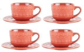 Jogo Xícaras Café Com Pires Porcelana 4 Peças Grace Carmim 80ml 17585 Wolff