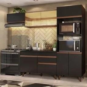 Cozinha Completa Madesa Reims XA260001 com Armário e Balcão Preto/Rustic Cor:Preto/Rustic