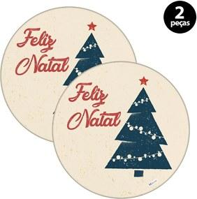 Capa para Sousplat Mdecore Natal Feliz Natal Bege2pçs