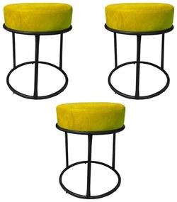 Kit 3 Puffs Decorativos Redondos Luxe Base de Aço Preta Suede Amarelo - Sheep Estofados - Amarelo