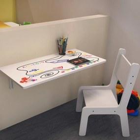 Mesa de Estudo Infantil Kids Dobrável com Cadeira 421 LymDecor Branco