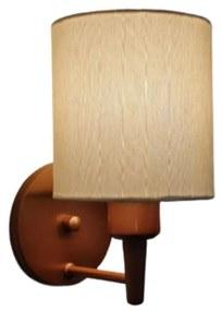 Arandela Cilíndrica Md-2009 Base Cobre Cúpula em Tecido 14x15cm Algodão Crú - Bivolt