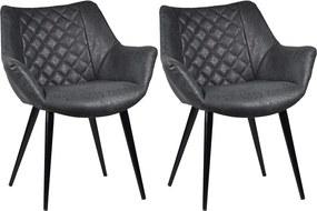 Kit 2 Cadeiras Decorativas Sala e Escritório Mandalla PU Preta - Gran Belo