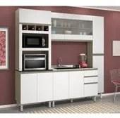 Cozinha Completa Modulada Malu Carvalho Gris Tok Branco em MDF 4 Módulos Nicioli