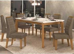 Mesa de Jantar Dália 170cm Carvalho Nobre Off White + 6 Cadeiras Curvata Pecan