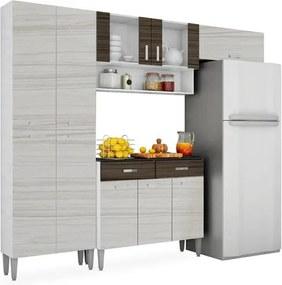 Kit Cozinha Completa Eva com Paneleiro e Portas de Vidro, Branco com Rovere e Dubai, Eva