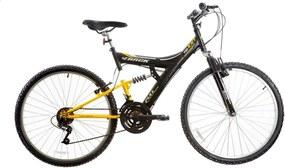 Bicicleta Aro 26 Mtb Tb100 Full Susp. 18V Preto Fosco e Amarelo Track & Bikes