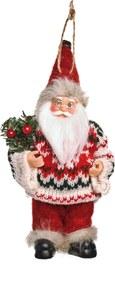 Boneco de Papai Noel Segurando Pinheiro e Candy Cane 20cm