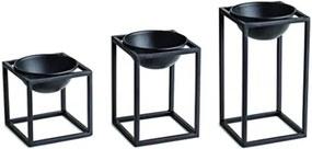 Conj 3 Cachepots preto em metal com suporte 10126 Mart