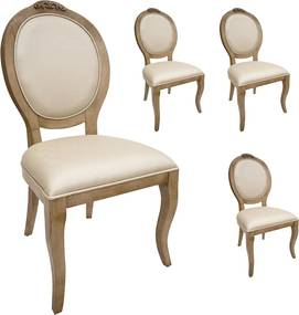 Jogo 4 Cadeiras Medalhão Lille - Avelã - Tecido Facto Pérola Clássico Kleiner Schein