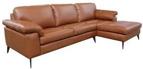Sofá de Couro Asti 3 lugares com Chaise - Conhaque com Brilho - Mempra