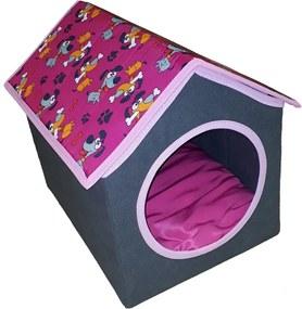 Casinha para gato e cachorro de pequeno porte - rosa